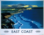 LNER Railway Travel Art Poster, East Coast, England,